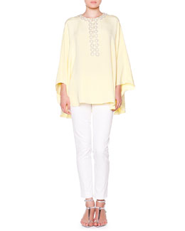 Emilio Pucci Poncho with Crystal Circle Trim & Slim-Leg Pants
