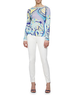 Emilio Pucci Scoop-Back Geometric-Print Shirt & Slim-Leg Pants