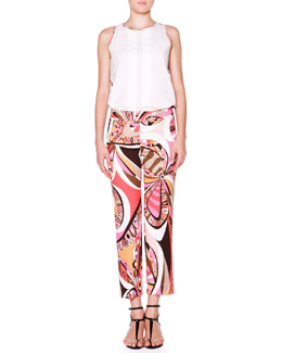 Emilio Pucci Sleeveless Top W/ Printed Back & Cropped Flat-Front Printed Pants