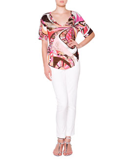 Emilio Pucci Short-Sleeve Floral Top with Metallic Studs & Slim-Leg Pants