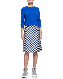 MARC by Marc Jacobs Iris Ribbed-Trim Crewneck Sweater & Checkerboard Jacquard A-Line Skirt