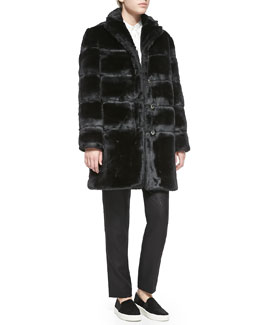 MARC by Marc Jacobs Airglow Boxy Faux-Fur Coat & Sparkle Suiting Schoolboy Pants