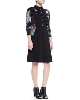 MARC by Marc Jacobs Stargazer Printed Knit Cardigan & Yumi Button-Front Crepe Shirtdress