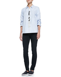 MARC by Marc Jacobs Bea On Mission Graphic Tee, Candy Stripe Shirting Button-Down & High Skinny Black Pants
