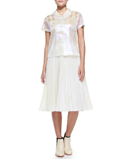MARC by Marc Jacobs Short-Sleeve Sheer Iridescent Blouse & Pleated Iridescent A-Line Skirt