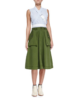 MARC by Marc Jacobs Candy-Stripe Belt Strap Top & Tea-Length Cargo Skirt