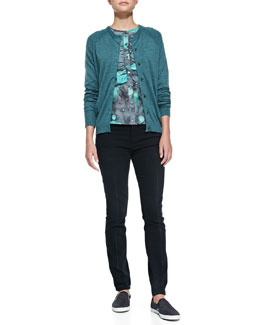 MARC by Marc Jacobs Grayson Raglan-Sleeve Cardigan, Stargazer Printed Ruffle-Front Top & High Skinny Denim Pants