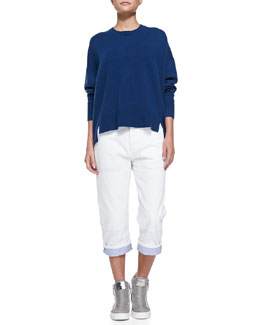 MARC by Marc Jacobs Cashmere Jo Split-Side Sweater & Relaxed Cropped Roll-Cuff Jeans