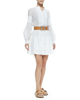Michael Kors Band-Collar Pleated Shirt, Tiered Cotton Miniskirt & Jeweled-Buckle Leather Belt