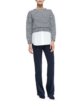 Derek Lam 10 Crosby Striped 2-in-1 Sweatshirt & Track Pants with Drawstring