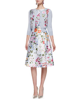 Oscar de la Renta 3/4-Sleeve Floral Embroidered Cardigan & Floral A-Line Dress with Self Belt