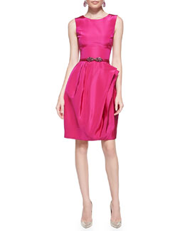 Oscar de la Renta Full-Skirt Silk Dress & Jeweled Silk/Leather Belt