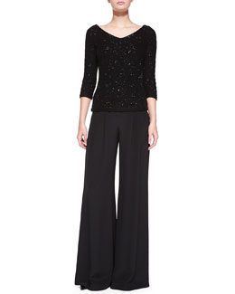 Carolina Herrera V-Neck Sequined Chevron Sweater & Wide-Leg Pants with Pleated Front