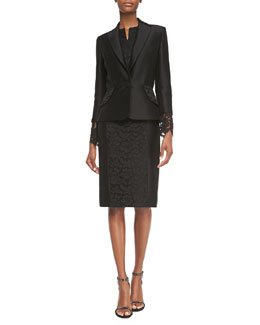 Carolina Herrera Floral-Lace Cuff Jacket & Floral-Lace Accent Dress, Black