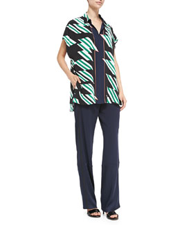 Derek Lam 10 Crosby Printed Oversized Blouse W/ Tie Front & Track Pants with Drawstring