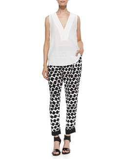 Derek Lam 10 Crosby V-Neck Shell with Lace Back & Printed Track Pants