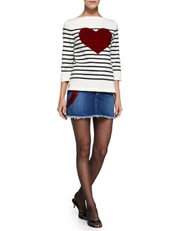 Marc Jacobs 3/4-Sleeve Striped Top & Denim Miniskirt with Heart