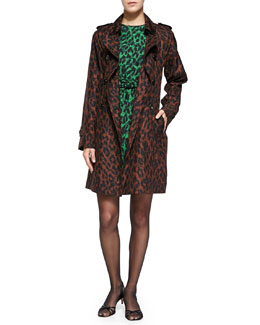 Marc Jacobs Leopard-Print Silk Trenchcoat & 3/4-Sleeve Leopard-Print Bow-Waist Sheath Dress