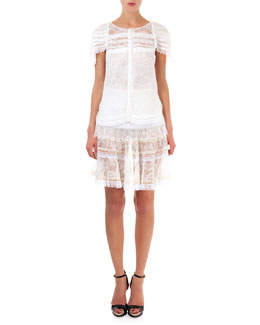 Nina Ricci Lace Top with Pearly Trim & Tiered Lace Skirt
