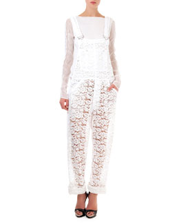 Nina Ricci Long-Sleeve Sheer Top & Lace Overalls