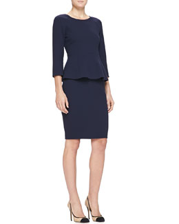Armani Collezioni 3/4-Sleeve Double-Crepe Back-Zip Top & Double-Crepe Pencil Skirt