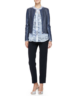 Jewel-Neck Woven Leather Jacket, Cumulus-Print Chiffon Tunic & Cropped Straight-Leg Pants