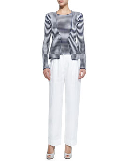 Striped Double-Breasted Knit Cardigan, Striped Cap-Sleeve Knit Top & Linen Wide-Leg Cuffed Pants