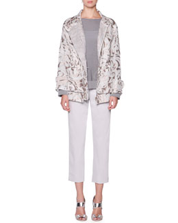 Giorgio Armani Floral Mesh Jacquard Jacket, Long-Sleeve Textured Tunic & Stretch Twill Slim-Leg Pants