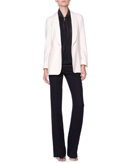 Giorgio Armani Silk/Cashmere Shawl-Collar Jacket, Knit-Trim Plisse Crepe Blouse & Wool/Silk Chevron Textured Pants