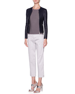 Giorgio Armani Ribbed-Lambskin Bonded-Knit Jacket & Silk Ottoman Knit Short-Sleeve Top