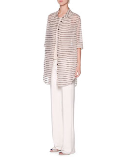 Giorgio Armani Striped Oversized Button-Front Tunic & Scoop-Neck Pleated Tank Top