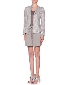 Giorgio Armani Exaggerated-Chevron Shawl-Collar Jacket, Overszied Short-Sleeve Knit Tunic & Front-Pleated Drawstring Bermuda Shorts
