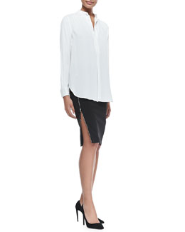 Ralph Lauren Black Label Winton Organza-Inset Tunic & Scarlette Jersey Skirt with Zip