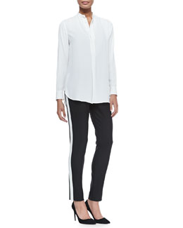 Ralph Lauren Black Label Winton Organza-Inset Tunic & Double-Weave Wool Diane Pants