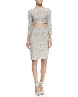 Alice + Olivia Lacey Beaded Sequined Crop Top & Ramos Beaded Sequined Pencil Skirt