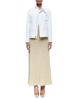 Ralph Lauren Black Label Utility Bomber Jacket with Zip & Linen Jersey Maxi Dress