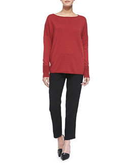 Vince Boat-Neck Sweater W/ Ottoman Cuffs & Easy Trousers with Satin Binding