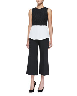 Theory Yuranda Sleeveless Eyelet Crop Top & Inza Modern Cropped Suit Pants
