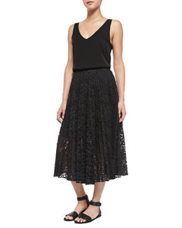 Theory Martosh V-Neck Sleeveless Silk Top & Zeyn Pleated Lace A-Line Skirt