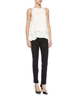 Theory Falice Layered-Hem Sleeveless Top & High-Waist Cropped Suit Pants