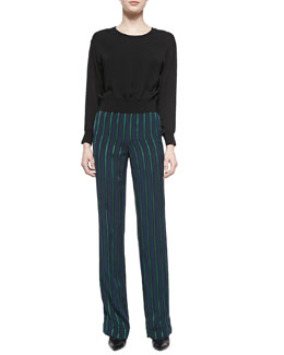 Theory Delpy Double-Georgette Blouson Top & Pajeema Striped Polished PJ Pants