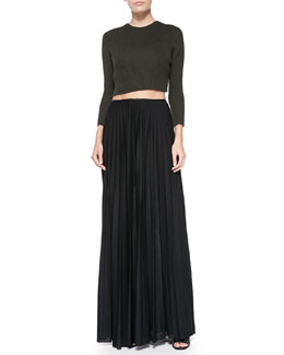 Theory Kamboe Ribbed Knit Crop Top & Miklo Pleated Jersey Skirt