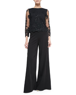Alice + Olivia Ava Sheer-Sleeve Embroidered Sequined Top & Super-Flare Wide-Leg Pants