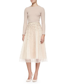 Alice + Olivia Tess Fitted Crewneck Crop Top & Rina Bead-Embellished Tulle Skirt