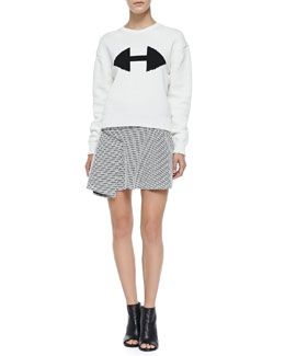 Derek Lam 10 Crosby Ribbed Crewneck Sweater W/ Arrow Detail & Printed Flared Skirt W/ Side Ruffle