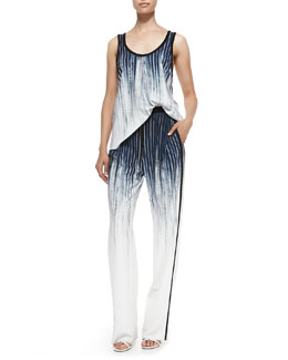 Derek Lam 10 Crosby Faded Pinstripe Scoop-Neck Tank & Faded Pinstripe Track Pants