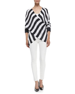 Derek Lam 10 Crosby Striped Cross-Front Pullover Sweater & Seamed Raw-Edged Leggings