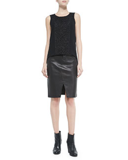 Rag & Bone Mijo Sleeveless Top W/ Lace Panel & Tampa Leather Scissor-Front Skirt