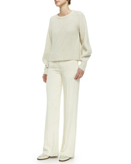 THE ROW Cashmere/Silk Knit Sweater & Wide-Leg Flat-Front Pants