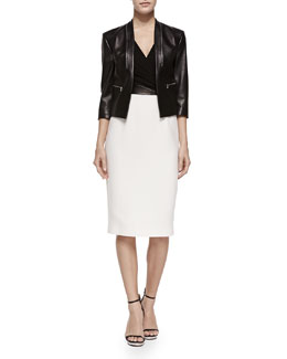 Michael Kors Princess-Seamed Leather Zip Jacket & Cross-Front Plunge Contrast Sheath Dress